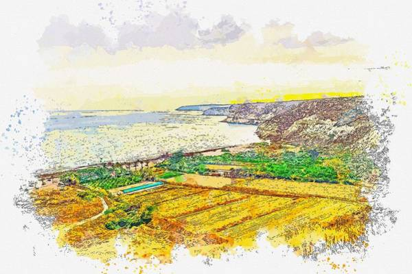 Painting - Coastal Cliffs -  Watercolor By Ahmet Asar by Celestial Images
