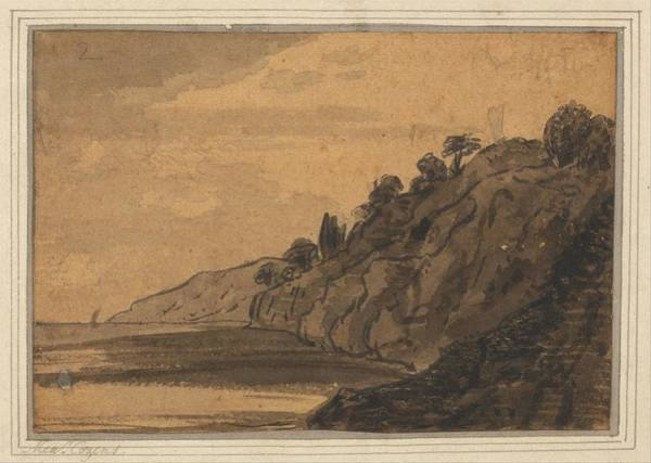 Wall Art - Painting - Coastal Scene With Wooded Cliff  by Alexander Cozens
