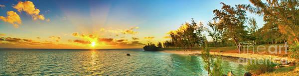 Wall Art - Photograph - Coastal View At Sunset. Mauritius. Panorama by MotHaiBaPhoto Prints