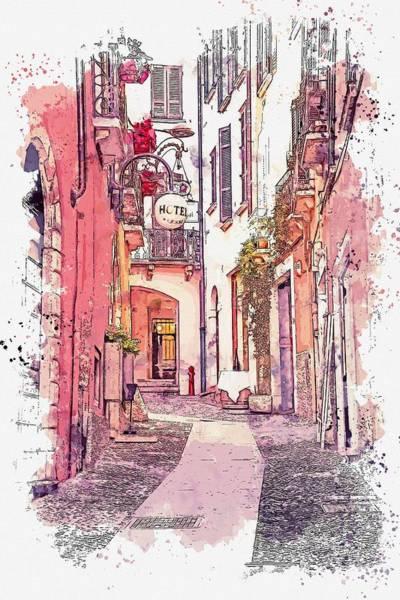 Painting - cobblestone street, watercolor by Adam Asar by Adam Asar