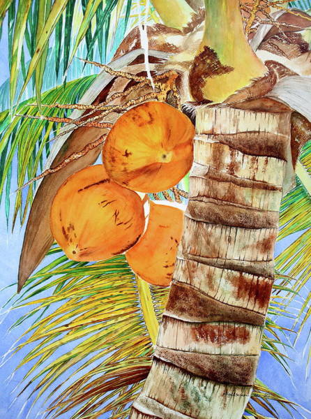 Husk Painting - Coconut Tree Iv by Jelly Starnes