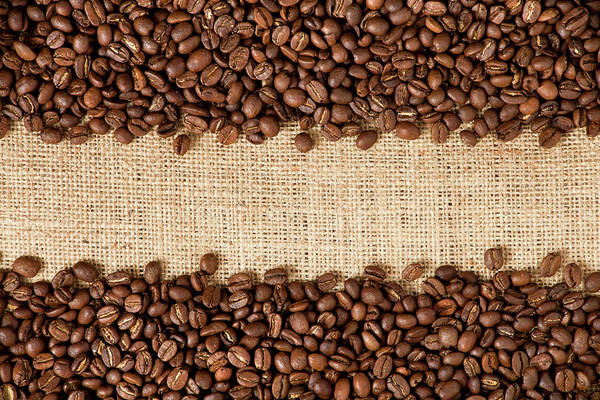 Wall Art - Photograph - Coffee Beans On Burlap by Barcin