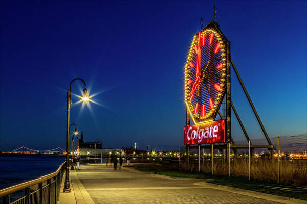Photograph - Illuminated Colgate Clock  by Susan Candelario