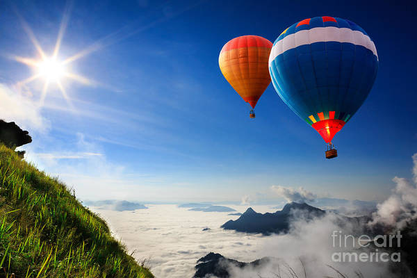 Float Photograph - Colorful Hot-air Balloons Flying Over by Patrick Foto