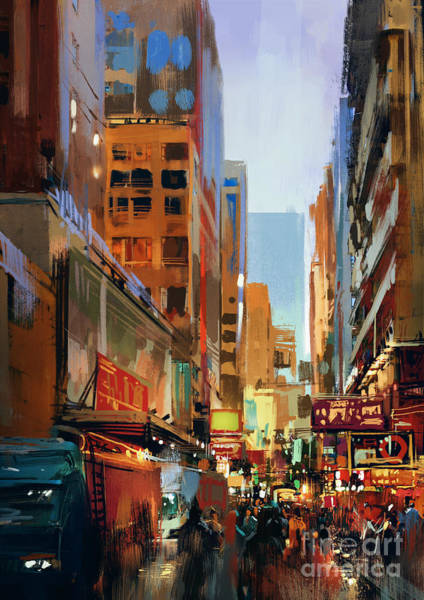 Wall Art - Digital Art - Colorful Painting Of City by Tithi Luadthong