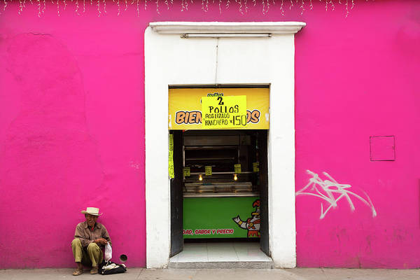 Real People Photograph - Colorful Pink Wall In Mexico by Dennis Walton