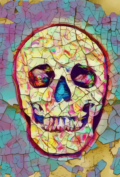 Fire Dance Wall Art - Painting - Colorful Skull by ArtMarketJapan