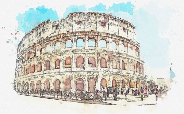 Painting - Colosseo, Roma, Italy -  Watercolor By Adam Asar by Adam Asar