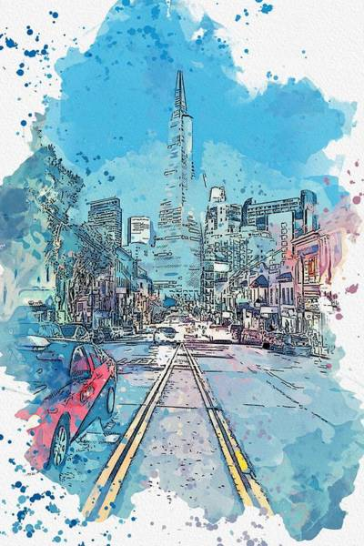 Painting - Columbus Avenue, San Francisco, United States -  Watercolor By Adam Asar by Adam Asar