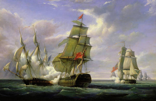 Wall Art - Painting - Combat Between The French Frigate La Canonniere And The English Vessel The Tremendous by Pierre Julien Gilbert