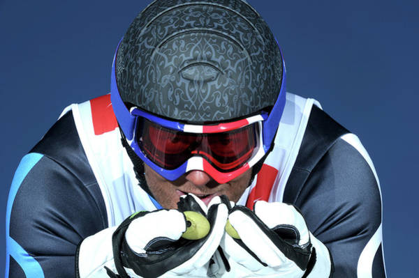 Crash Helmet Photograph - Competitive Downhill Skier, Close Up by Agence Zoom