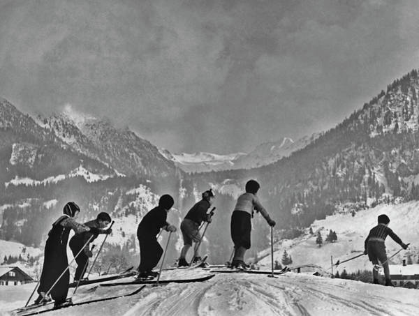 Alpine Skiing Photograph - Compulsory Skiing by Archive Photos