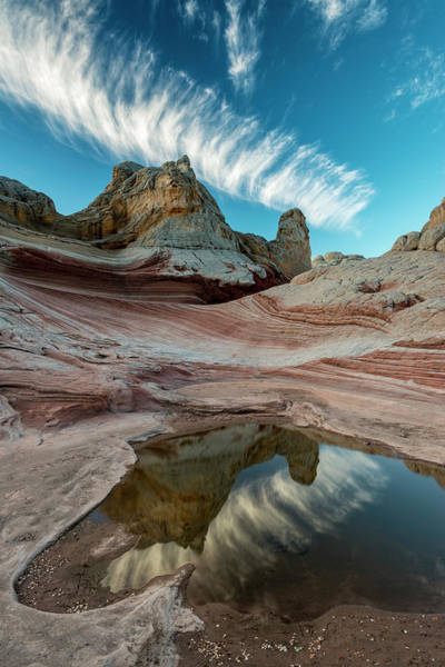Wall Art - Photograph - Contrail, Pool Reflection And Sandstone by Howie Garber