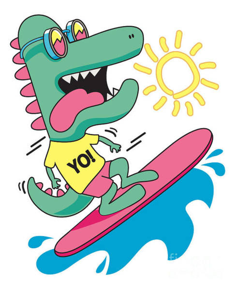 Hawaiian Wall Art - Digital Art - Cool, Cute Monster Crocodiles by Braingraph