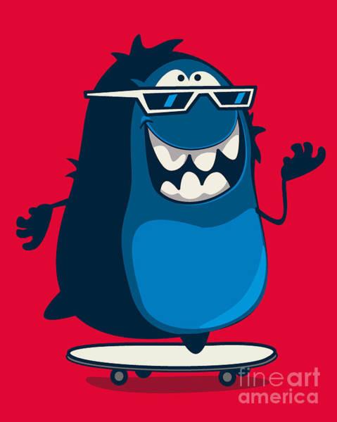 Skate Wall Art - Digital Art - Cool Monster Graphic by Braingraph