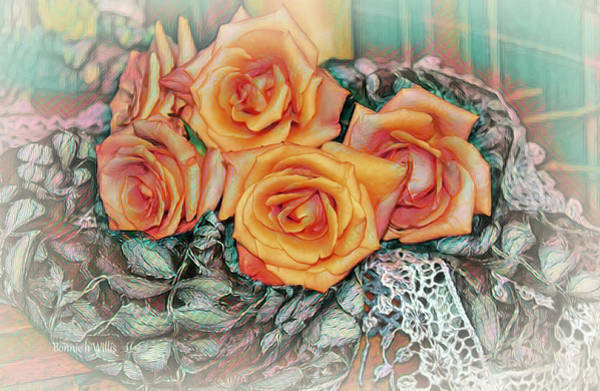 Digital Art - Coral Roses by Bonnie Willis