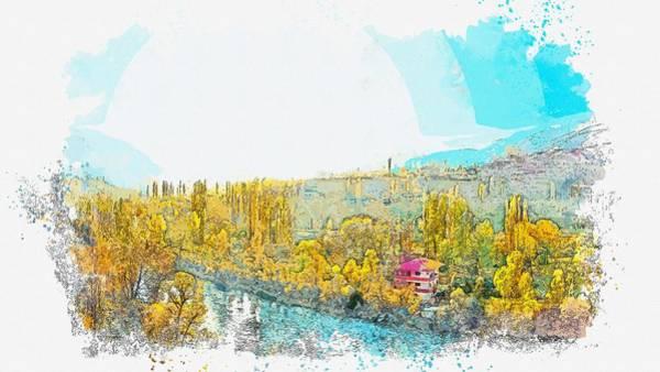 Painting - Coruh River River Streaming Dd Pebbles Shadows 2 -  Watercolor By Adam Asar by Adam Asar
