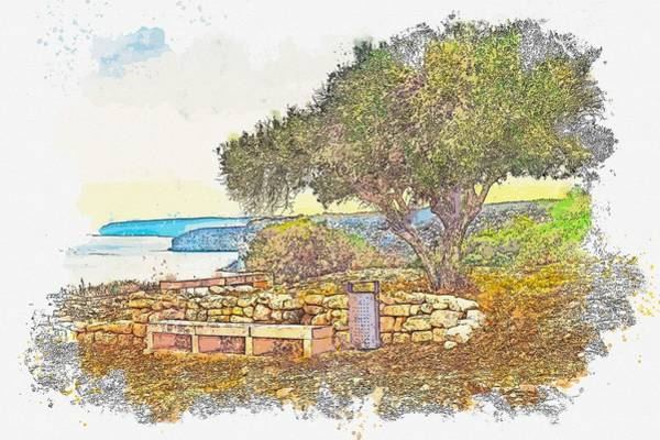 Painting - Costal Landscape In Kourion Cyprus -  Watercolor By Ahmet Asar by Ahmet Asar