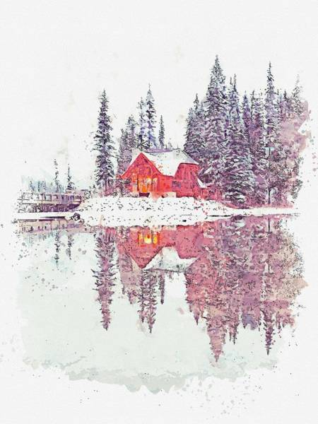 Painting - Cottage At Emerald Lake, Canada -  Watercolor By Adam Asar by Adam Asar