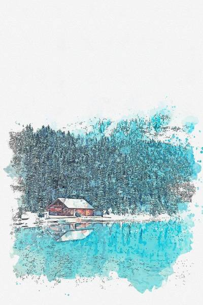 Painting - Cottage By The Lake -  Watercolor By Adam Asar by Celestial Images