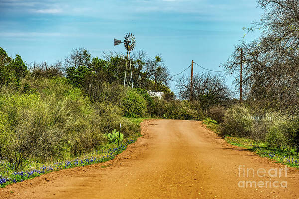 Texas Bluebonnet Digital Art - Country Road by Elijah Knight
