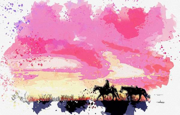 Painting - Cowboy Silhouette During Sunset -  Watercolor By Ahmet Asar by Ahmet Asar