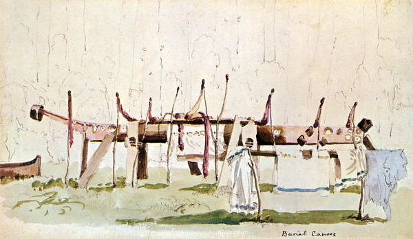 Wall Art - Painting - Cowlitz Indian Burial Canoe by Science Source