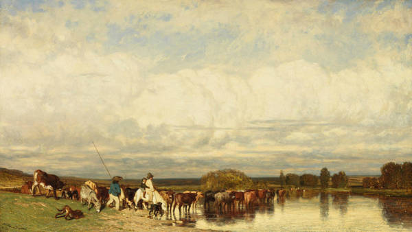 Wall Art - Painting - Cows Crossing A Ford by Jules Dupre