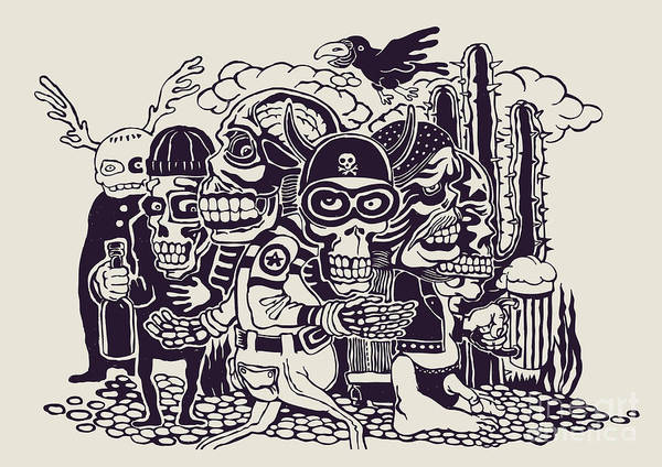 Wall Art - Digital Art - Crazy Persons, Bikers, Skulls And by Jumpingsack