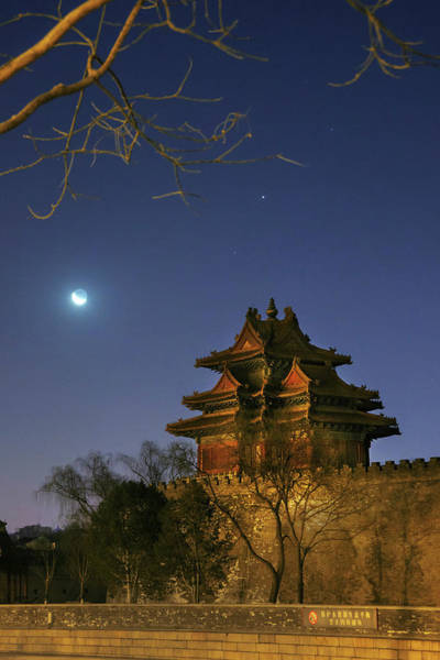 Wall Art - Photograph - Crescent Moon Over Jiaolou Tower by Jeff Dai