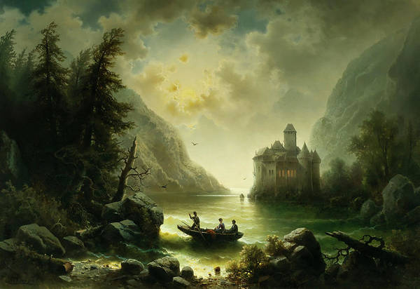 Wall Art - Painting - Crossing In A Moonlit Night by Albert Rieger
