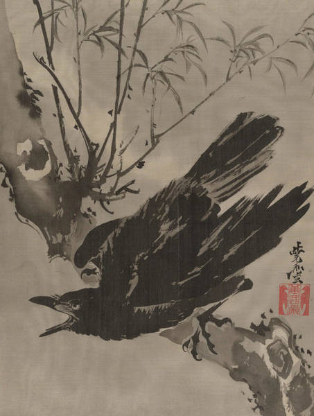 Wall Art - Painting - Crow On A Branch by Kawanabe Kyosai