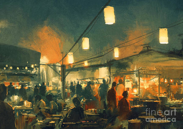 Scenery Digital Art - Crowd Of People Walking In The Market by Tithi Luadthong