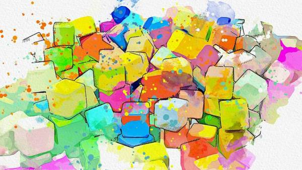 Painting - Cubes Assorted -  Watercolor By Ahmet Asar by Ahmet Asar