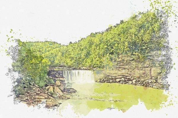 Painting - Cumberland Falls  In Kentucky -  Watercolor By Ahmet Asar by Ahmet Asar