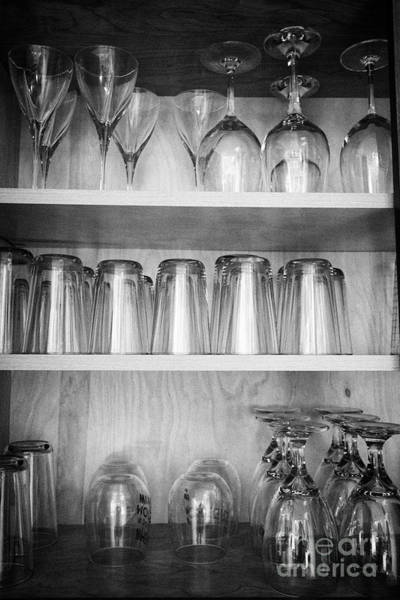Wall Art - Photograph - cupboard full of glassware in a holiday vacation rental kitchen in the USA United States of America by Joe Fox