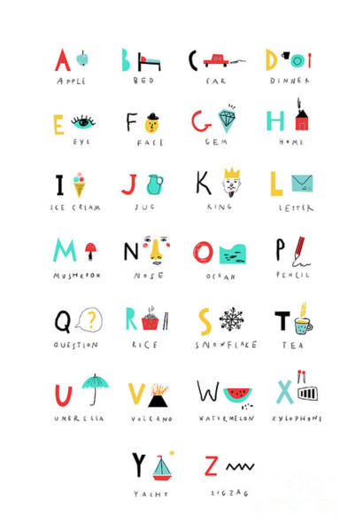 Wall Art - Digital Art - Cute Alphabet. Letters And Words. Learn by Lera Efremova
