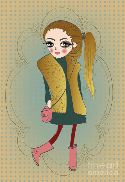 Wall Art - Digital Art - Cute Fashion Little Girl With Frame by Elena Barenbaum