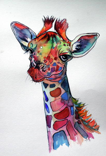 Wall Art - Painting - Cute Giraffe by Kovacs Anna Brigitta