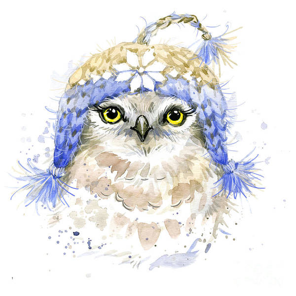 Wall Art - Digital Art - Cute Owl Watercolor Illustration by Faenkova Elena