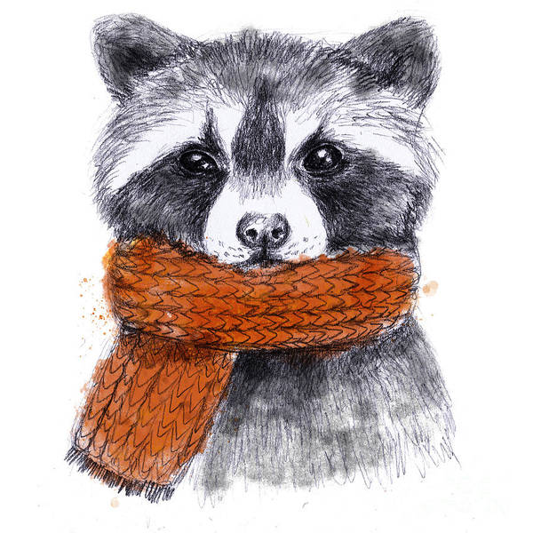 Wall Art - Digital Art - Cute Raccoon With Scarf , Sketchy by Maria Sem