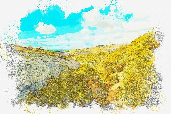 Painting - Cyprus Coastal Landscape -  Watercolor By Ahmet Asar by Ahmet Asar