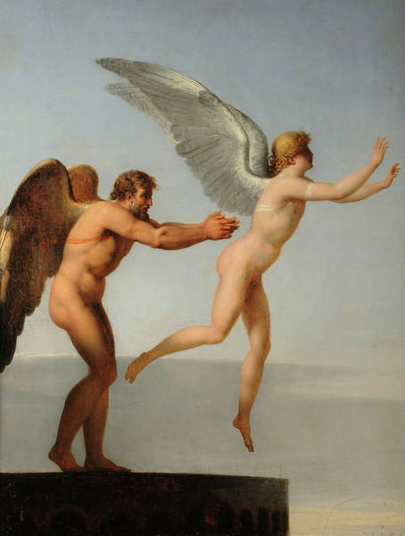 Wall Art - Painting - Daedalus And Icarus, 1799 by Charles Paul Landon