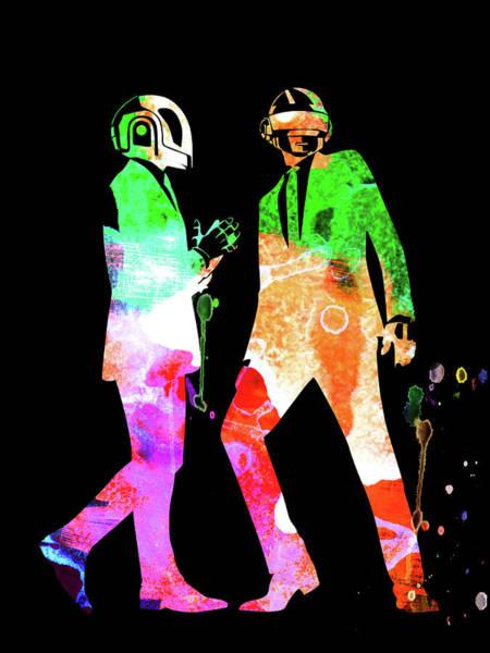 Jazz Mixed Media - Daft Punk Watercolor by Naxart Studio