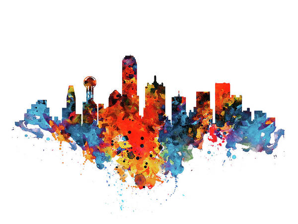 Wall Art - Painting - Dallas Watercolor Skyline  by Marian Voicu
