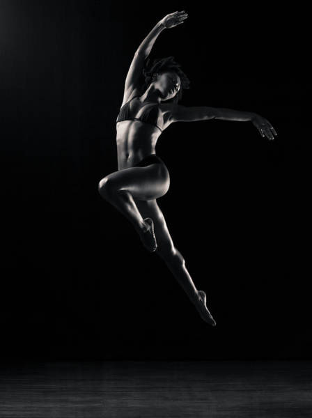 Bikini Photograph - Dancer Jumping In Mid-air B&w by Mike Powell