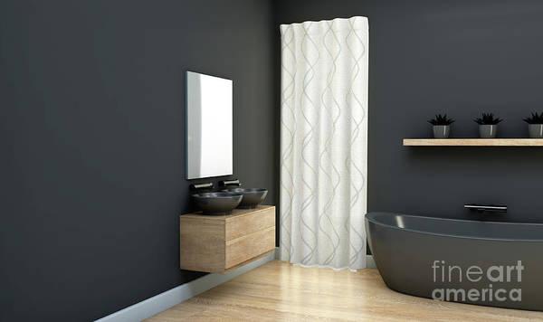 Wall Art - Digital Art - Dark Bathroom Interior by Allan Swart