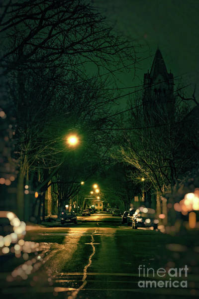 Wall Art - Photograph - Dark Chicago City Street At Night by Bruno Passigatti