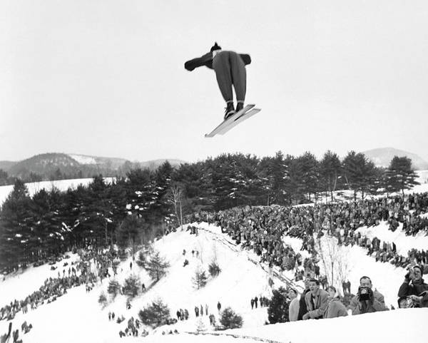 New Hampshire Photograph - Dartmouth Carnival Ski Jumper by Underwood Archives