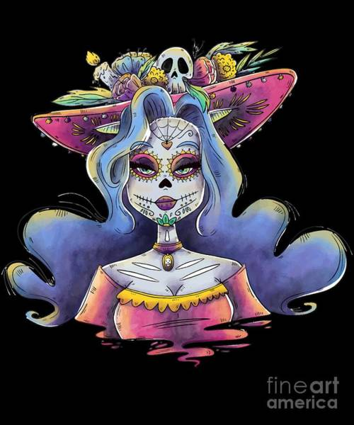 Digital Art - Day Of The Dead La Calavera Catrina by Flippin Sweet Gear